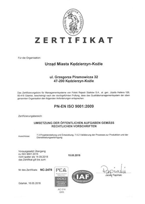 Certyfikat w języku niemieckim