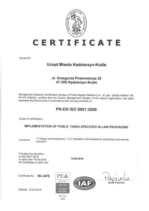 Certyfikat w języku angielskim